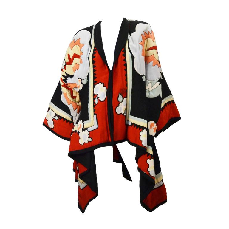 Michaele Vollbracht Quilted Silk Kimono/Jacket, 1980s   For Sale