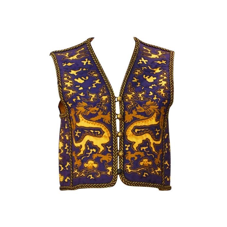 Yves Saint Laurent Rive Gauche Dragon Print Vest, 1960s