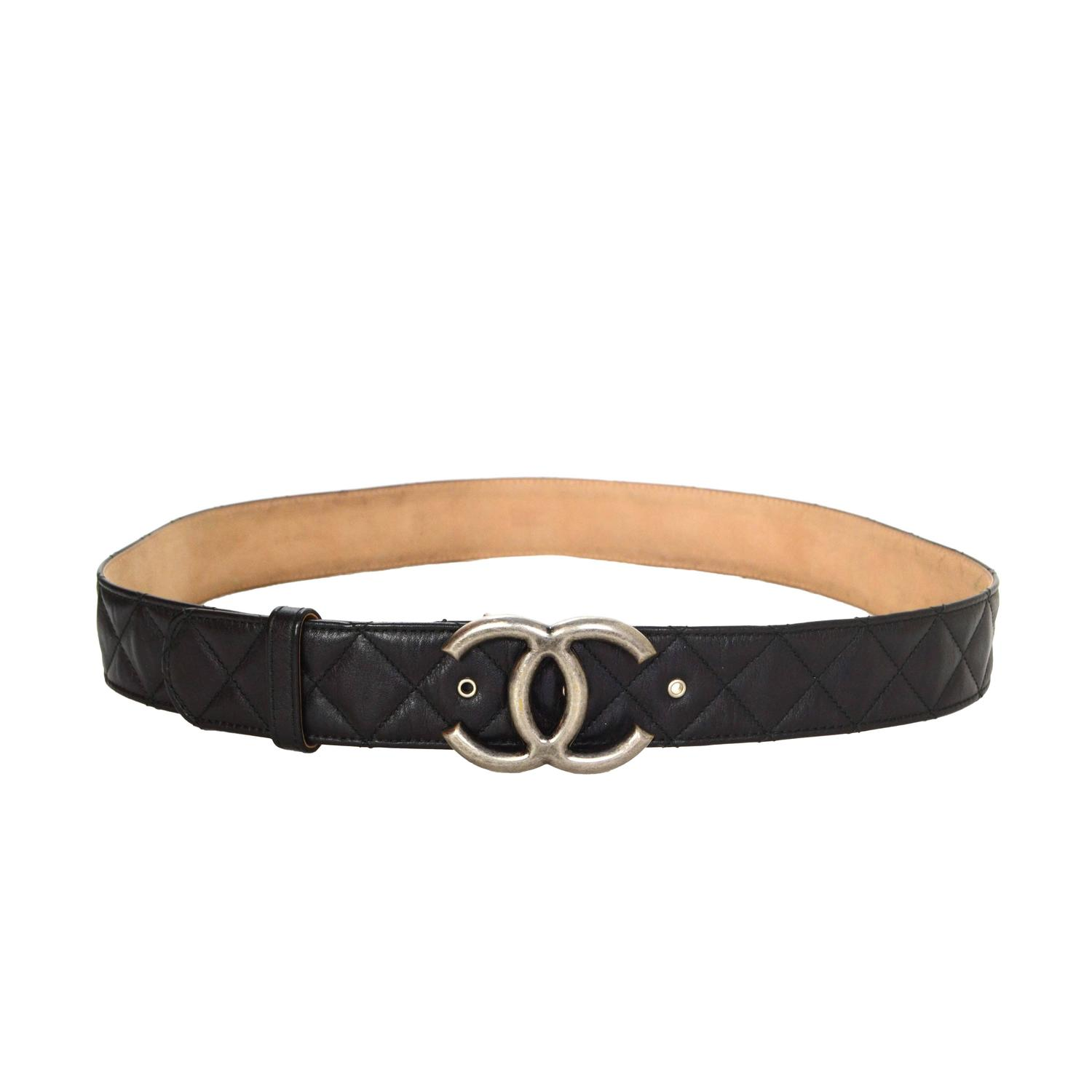 Chanel Black Quilted Leather Belt Sz 90 At 1stdibs