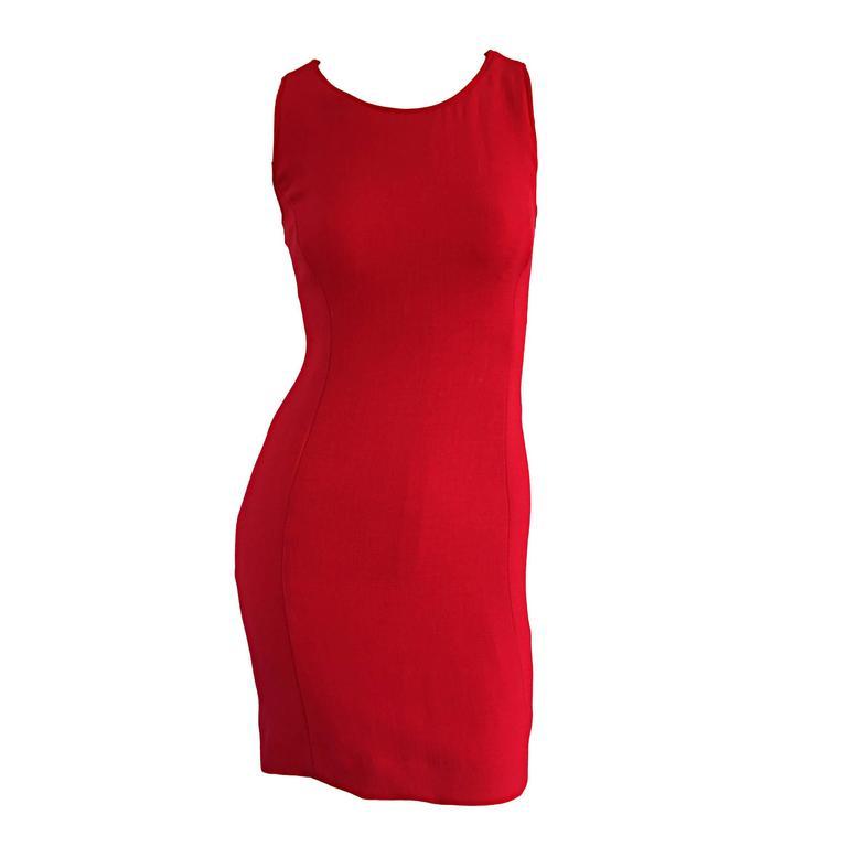 Giorgio Armani Collezioni 1990s Body Con Vintage 90s Red Dress
