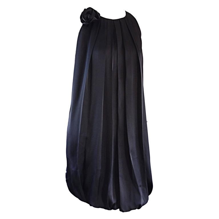 b06ce3d1dc7 Max Mara Chic Black Silk Pleated Bubble Dress Size Medium For Sale ...