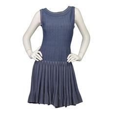 Alaia Blue Sleeveless Fit & Flare Dress sz 44