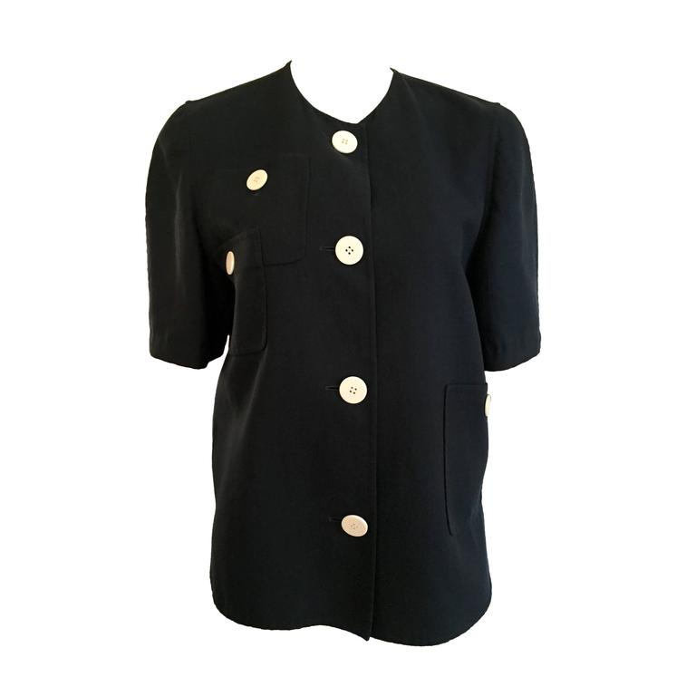 Bill Blass Navy Cotton Top Size 10. For Sale