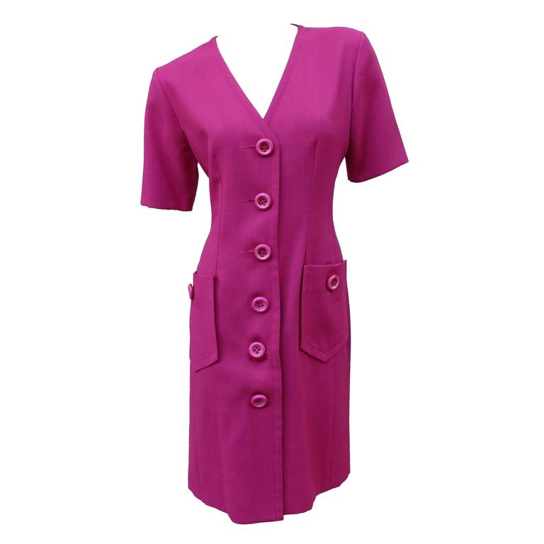 Yves Saint Laurent YSL Variation Vintage Unworn Fuchsia Tunic Dress