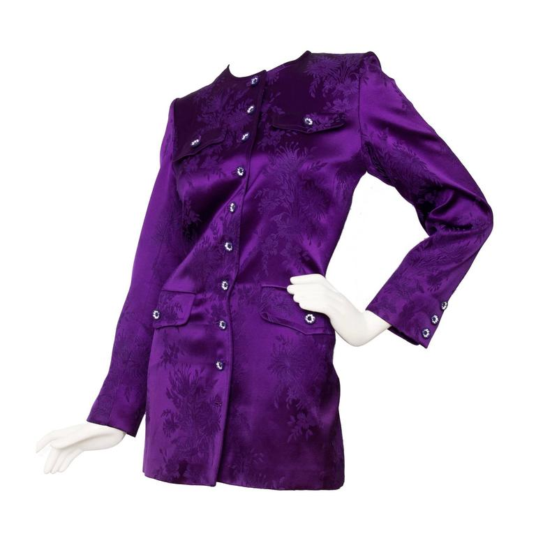 1980s Yves Saint Laurent Purple Jacquard Evening Jacket