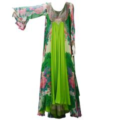Beaded Green Floral Layered Dress