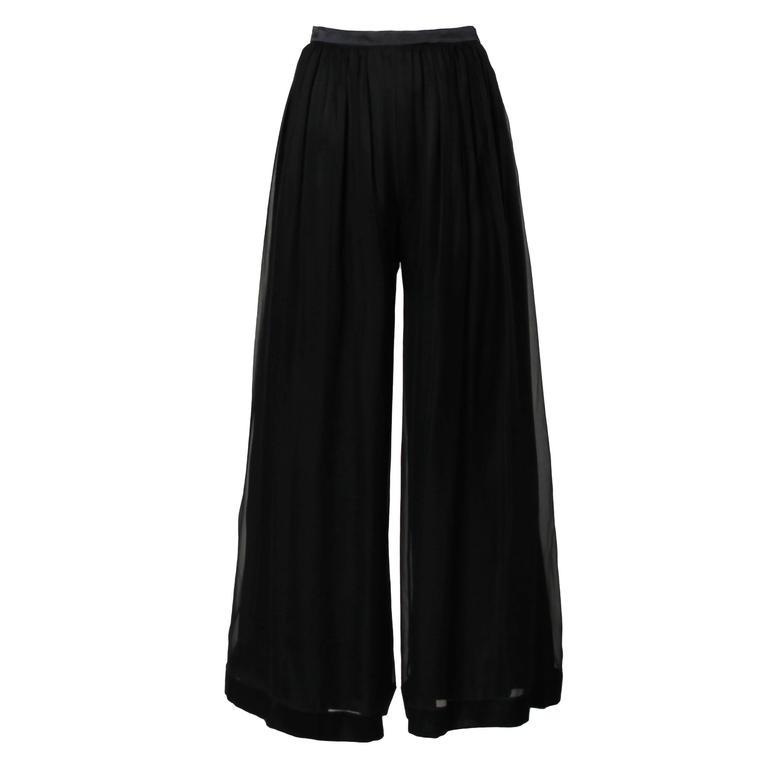 Valentino Vintage Black Silk Chiffon Wide Leg Palazzo Pants