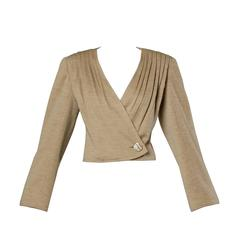 Valentino Vintage Wool Pleated Blazer Jacket