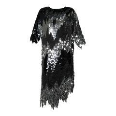 Flapper-Inspired Vintage Metallic Silk Beaded + Sequin Cocktail Dress
