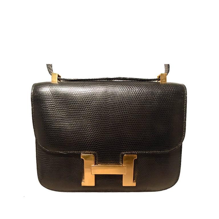 555a4f280151 Hermes Vintage Black Lizard Leather Constance Shoulder Bag-rare at 1stdibs