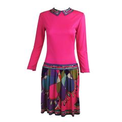 Pucci Mod silk knit dress in hot pink & classic print 1960s