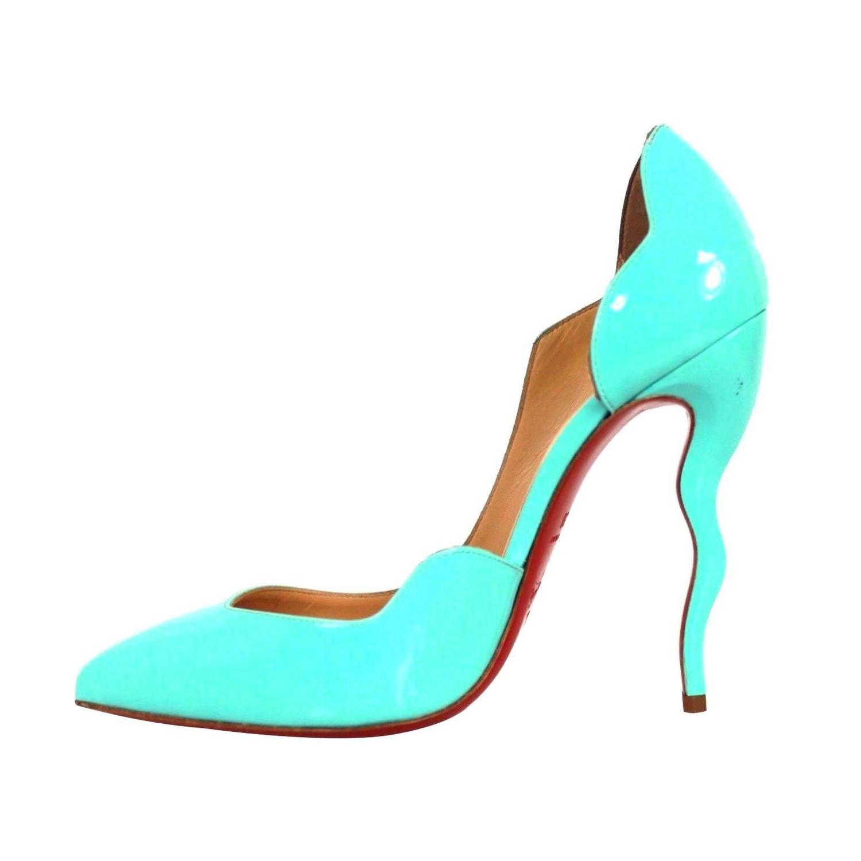 louis vuitton shoes for men - Christian Louboutin Blue Patent Leather Scalloped Asymmetrical ...