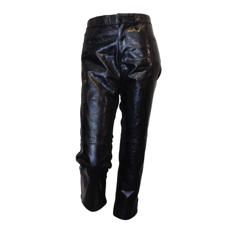 Junya Watanabe Black Leather and Fabric Pants Size L 1