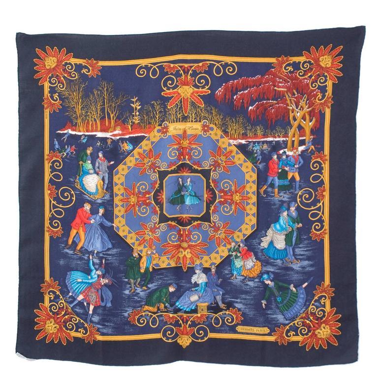 navy border art rare vintage hermes scarf joies dhiver navy border cashmeresilk