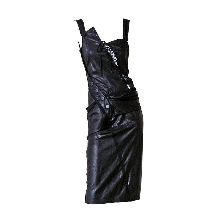 Rare 2000 Christian Dior by John Galliano Bondage Asymmetric Leather Dress 1