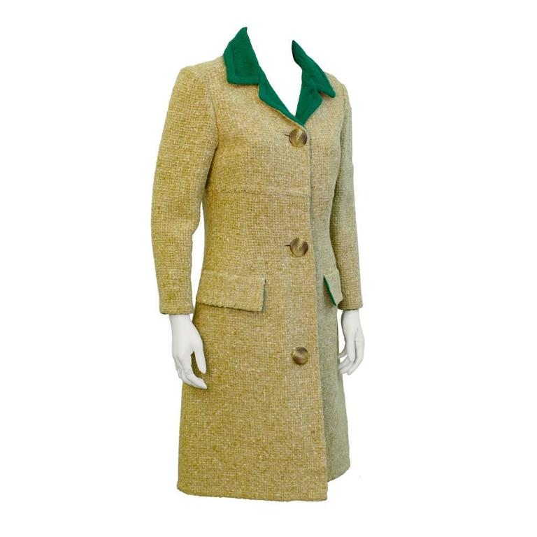 1960's Tiktiner Tan and Green Double Sided Wool Coat