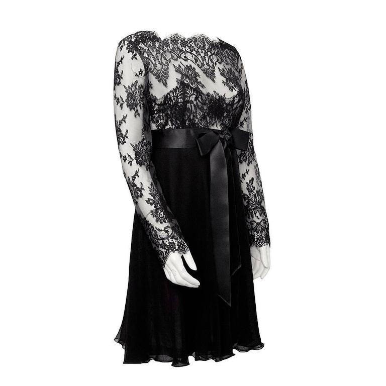 1980's Isabelle Allard Black Chiffon and Lace Dress
