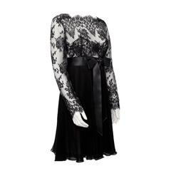 1980's Isabelle Allard Black Chiffon and Lace Dress