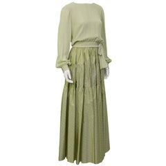 1980's Chanel Mint Green Tiered Skirt and Top