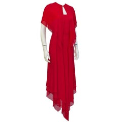 1960's Mollie Parnis Romantic Red Gown with Caplet