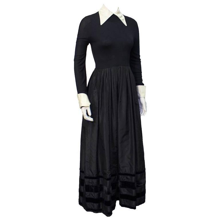 1970's Nina Ricci Black Taffeta Ingenue Gown