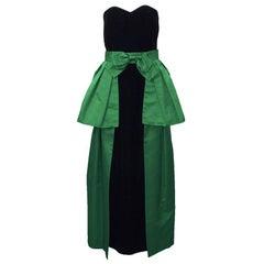 1980's Akira Black Velvet Column Gown with Green Peplum Wrap Skirt