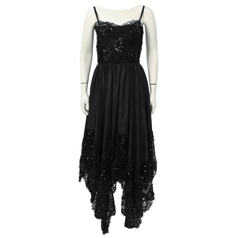 1b90f12a8 1980's Yves Saint Laurent YSL Black Lace Dress with Hanky Hem For Sale