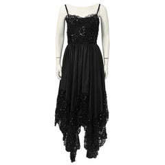 1980's Yves Saint Laurent YSL Black Lace Dress with Hanky Hem