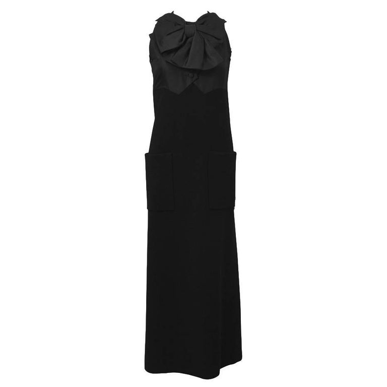1960's Geoffrey Beene Black Wool Gown with Large Bow  For Sale