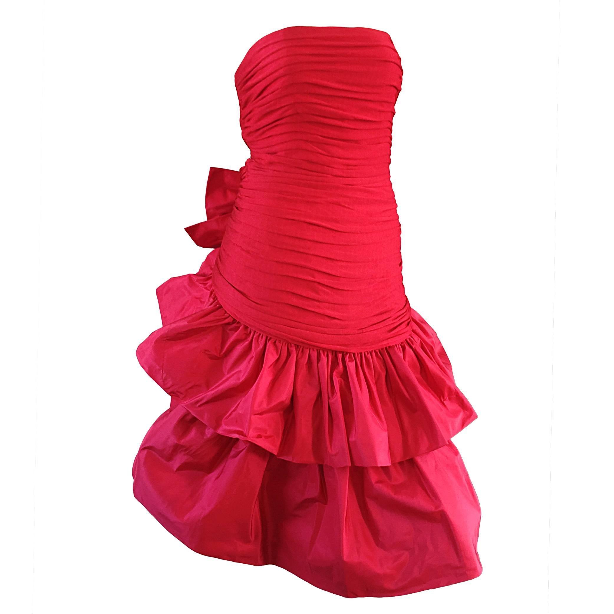 Vintage Jill Richards 1980s For Saks Fifth Avenue Red Avant Garde Silk Dress