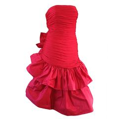 Amazing Vintage Jill Richards For Saks Fifth Avenue Red Avant Garde Silk Dress