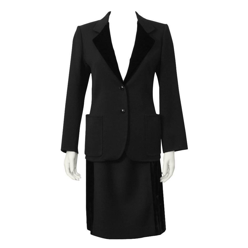 1970's Mila Schon Black Wool and Velvet Skirt Suit
