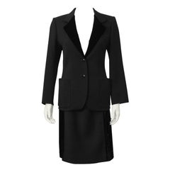 1970's Mila Schon Black Wool and Velvet Skirt Suit