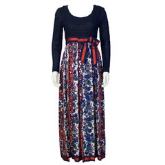 1970's Martha Palm Beach Navy and Red Maxi Dress