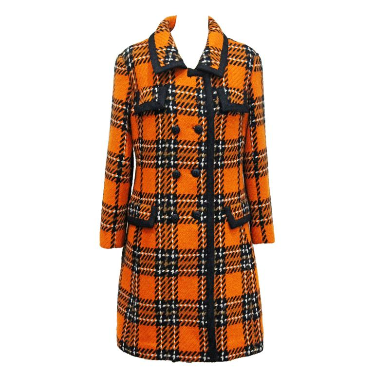 1960s English checked tweed tailored coat by Royal Dressmaker, Hardy Amies  1