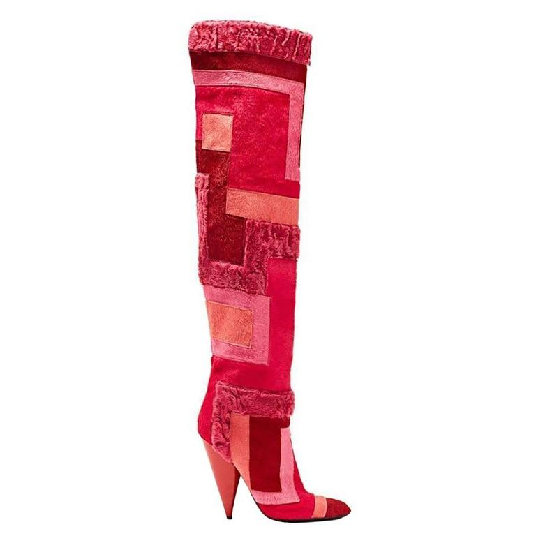 New TOM FORD Geometric Patchwork Fur Over-the-Knee Boots