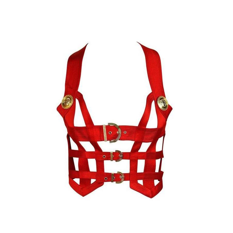 Iconic GIANNI VERSACE COUTURE Red Bondage Harness Bodice Fall 1992 1