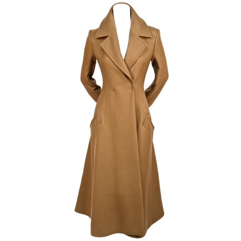 unworn CELINE fitted camel wool gaberdine runway coat - fall 2014 For Sale