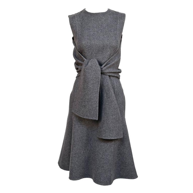 unworn CELINE grey cashmere runway dress with knotted 'sleeves' - fall 2013 1