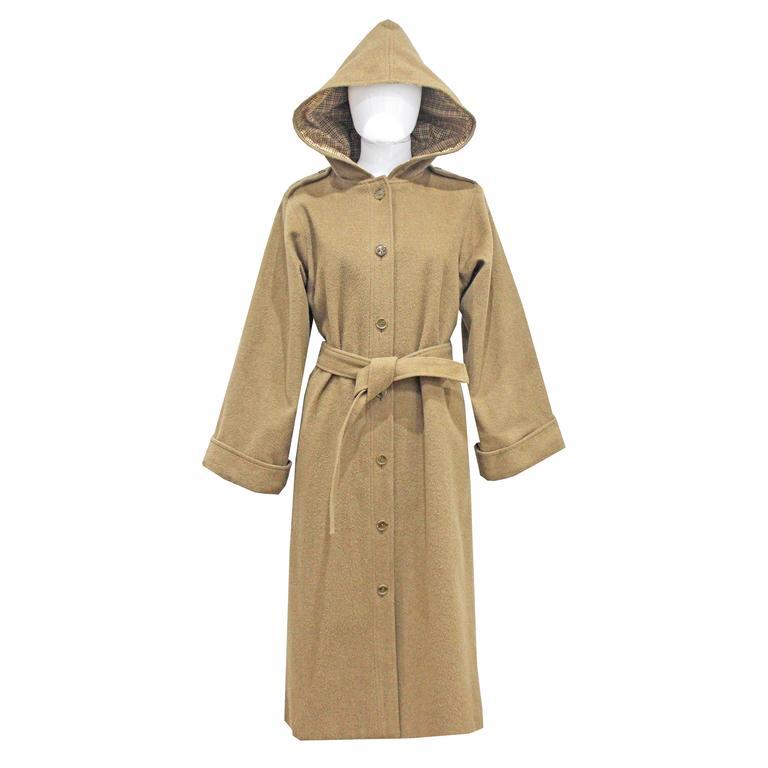 1970s Yves Saint Laurent camel hooded Loden coat, Fall 1975 1