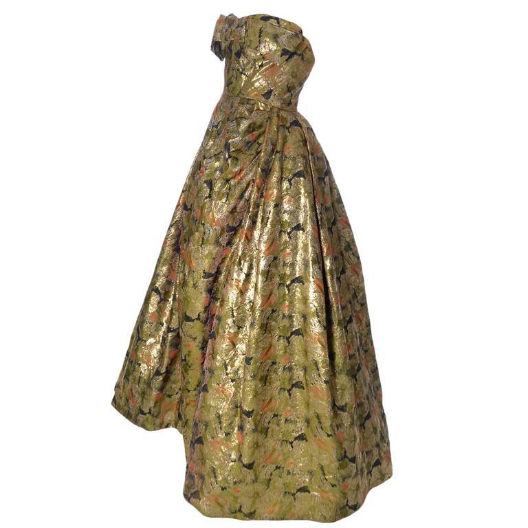 Michael Novarese 1960s Vintage Gold Metallic Audrey Hepburn Evening gown Dress  2
