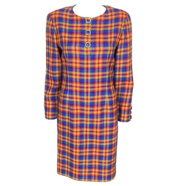 Valentino Wool Plaid Dress - Early 1990s