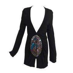 Marjan Pejoski-Bjo?rk-black jersey sweater with painted perspex panels