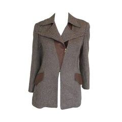 Hermes Paris Camel Hair Tweed Leather Jacket