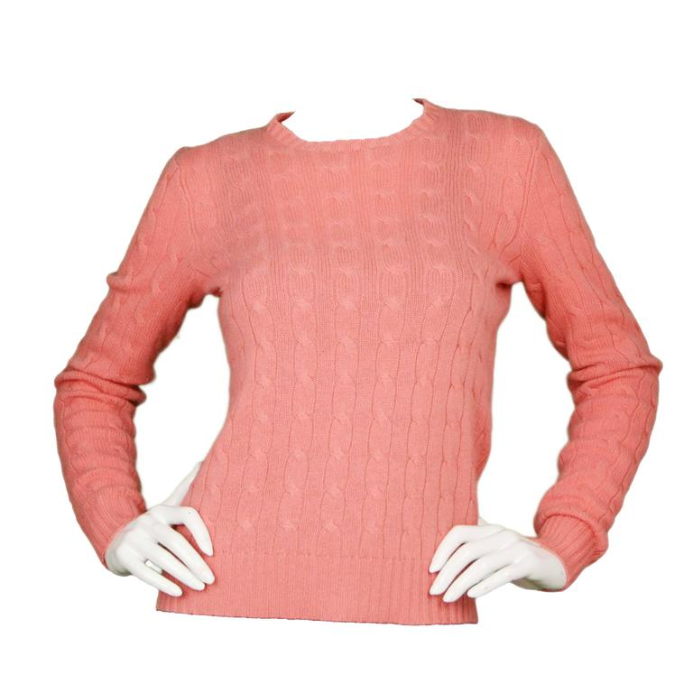 25a6abc1bc Ralph Lauren Salmon Cable Knit Cashmere Sweater sz M For Sale at 1stdibs
