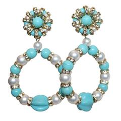 Francoise Montague Glass Pearl and Faux Turquoise Clip Earrings