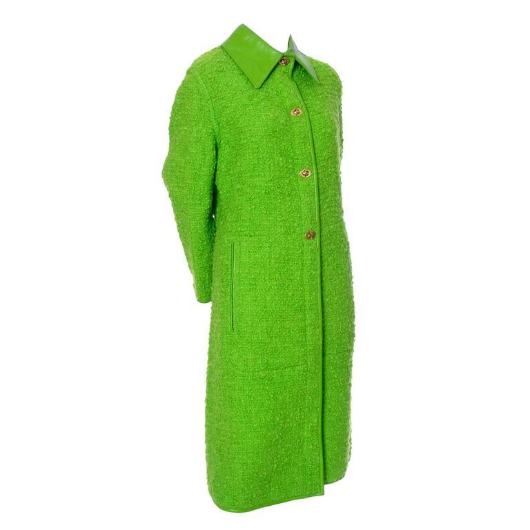 Sills Bonnie Cashin Vintage Coat Green Boucle Leather Trim Toggle