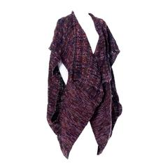 Nikos Handwoven Wool Sleeveless Sweater Vintage Vest And Shawl Scarf 2 PC Set