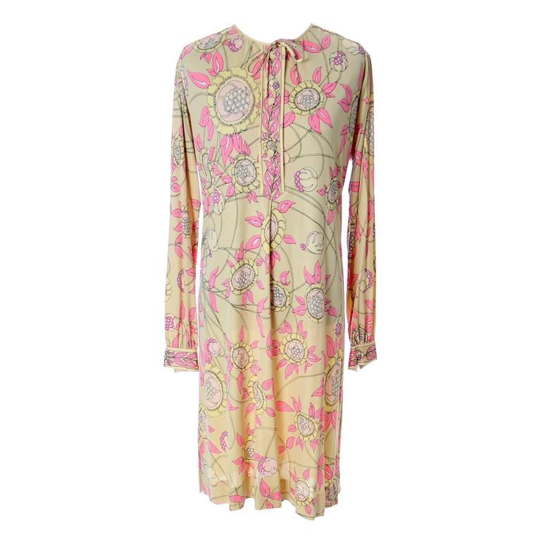 1970s Vintage Emilio Pucci Silk Jersey Dress In Yellow & Pink Saks Fifth Avenue