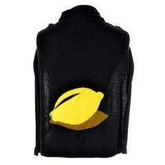 Sonia Rykiel Novelty Vintage Half Sweater Lemon Made in Italy 100% Cotton As New